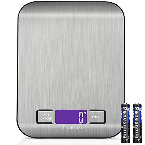 YYQ Bilancia da Cucina Digitale 5Kg/1g Alta Precisione Multifunzione Bilancia Elettronica, Funzione Tara, Misurazione dei Liquidi, Display LCD, Acciaio Inossidabile (2 batterie incluse)