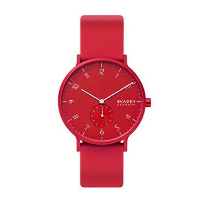 Skagen Men's Aaren Kul¿r Silicone Watch, Color: Red, 20 (Model: SKW6512)