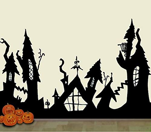 HalloweenTown Nightmare Before Christmas Wall Decal Mural Scary Décor 30x22 Inches Message for Size