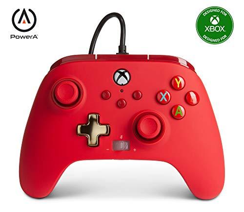 Power A - Mando con cable, salida de audio y botones programables, de color rojo para Xbox One y Xbox serie X (Xbox Series X)