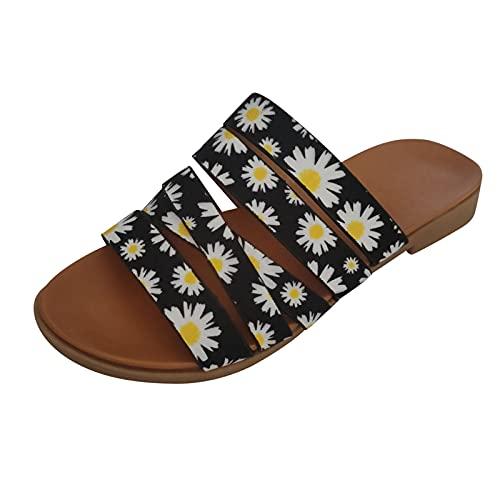Zapatos Verano Mujer Comodos Primavera Verano 2021,Sandalias Mujeres Sandalias Planas Sandalias Casuales Zapatos de Verano Peep Toe Casual Encaje up impresión Sandalias Planas