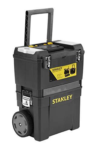 Stanley 1-93-968 Centre De Projet Mobile - Éléments Autonomes - Organiseurs Sur Le Couvercle - Attaches Métalliques - Roues Grand Diamètre - Poignée Télescopique - Dimensions : 480 X 630 X 290Mm