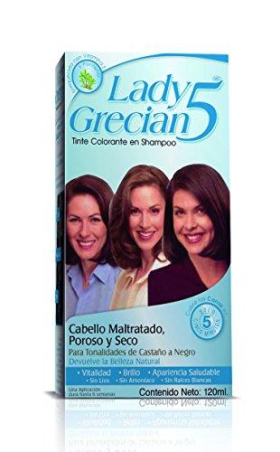 Lady Grecian 5 Tinte Colorante en Shampoo, Cubre las Canas, sin Amoniaco, para Cabello Maltratado Castaño a Negro, 120 ml