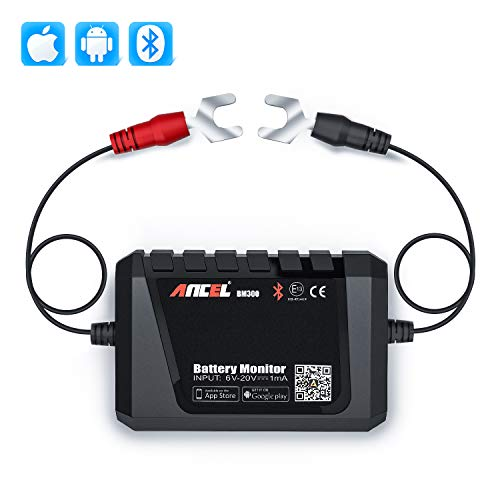 ANCEL BM300 Bluetooth Battery Monitor Voltmeter for All 12 Volts Solar Power Systems/Cars/Boats/Motorcycles/Trucks/RVs with Automotive Charging Cranking System Test(Fathers' Day Gift)