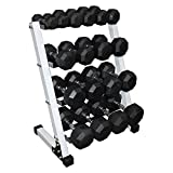 Ader Octagon Deluxe Professional Rubber/or Chrome Dumbbell Set w/ 4 Tier 24' Rack (2,5,8,10,20,25,30,40,50+ Rack)