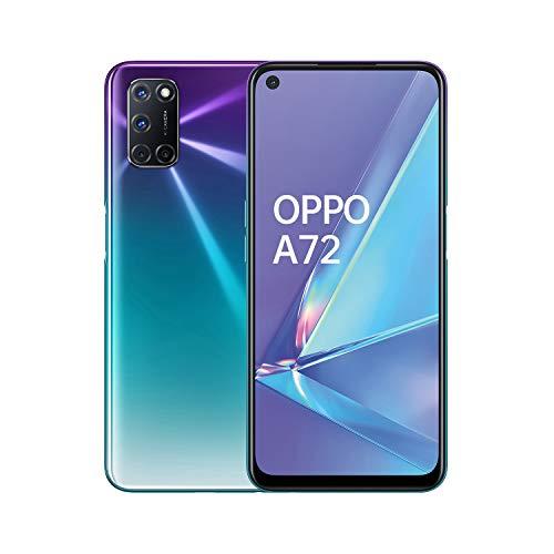 OPPO A72 Smartphone , Display 6.5'' LCD, 4, Fotocamere,128GB Espandibili, RAM 4GB, Batteria 5000mAh, Dual Sim, 2020 [Versione italiana], Aurora purple