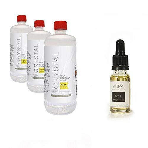 Bio Fires - Crystal Bio Ethanol Fuel - 3 X 1L + Aura Oil No 1