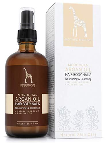 Olio di Argan BIO – COSMETICO NATURALE VEGANO - 100 ml by Mother Nature Cosmetics - pressata a freddo con delicatezza, da noci di argan raccolte a mano - prodotto naturale per capelli, pelle, unghie