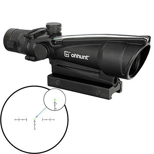 ohhunt 3.5X35 Rifle Scopes Fiber Illuminated Tactical Hunting Optics Sights (Green Chevron Reticle)
