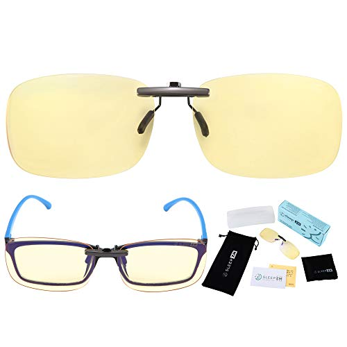 Clip On Ultra Anti Blue Light Blocking Computer Video Gaming Glasses for Women & Men - Clips On Your Prescription or Reading Glasses - Sleep Better - Reduce Eye Strain - Stop Migraine Headaches