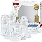 NUK Nature Sense Perfect Start kit de biberones, 0-18 meses, 4 biberones anticólico, chupete, cepillo de limpieza y mas, Sin BPA, Gris y blanco, 9 unidades