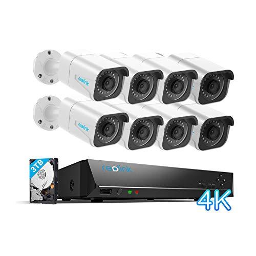 Reolink 16CH 4K Kit Videosorveglianza IP PoE, Sistema di Sorveglianza con Rilevamento Intelligente di Persone/Veicoli, 3TB HDD NVR con 8X8MP Telecamera PoE Esterno, Registrazione 24/7, RLK16-810B8-A