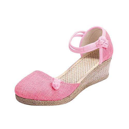 Minetom Mujer Sandalias de Plataforma Tacón Alto Cuña Alpargatas Espadrilles Plataforma Hebilla Mares Playa Chancletas Zapatillas Zapatos de Verano Rosa 39 EU