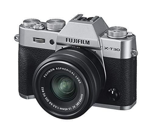 Fujifilm X-T30 Silver e Obiettivo XC15-45mm F3.5-5.6 OIS PZ, Fotocamera Digitale da 26MP, Sensore CMOS X-Trans 4 APS-C, Mirino EVF, Filmati 4K 30p, Schermo LCD Touch 3' Orientabile, Argento