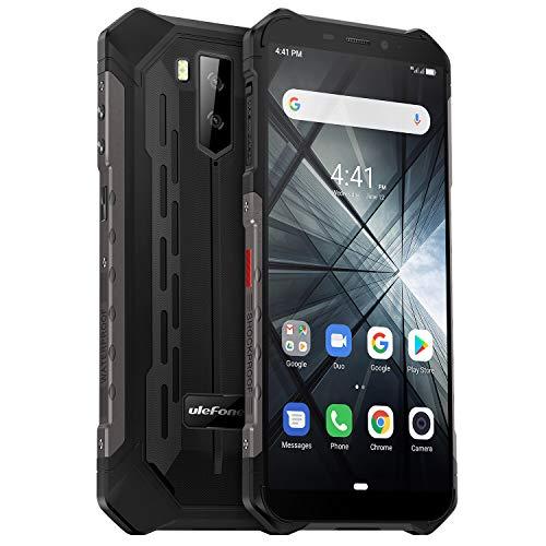 Ulefone Armor X3 Outdoor Handy 32GB Speicher, 5,5 Zoll, 5000mAh Akku, 13MP+ 5MP Kamera, Android 9, IP68 Smartphone Wasserdicht Stoßfest Staubdicht, Kompass GPS WiFi Face ID - Schwarz