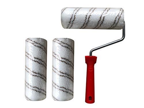 3 Stk. Polyamidrolle Rolle Walze mit Halter für 2K-Epoxidharz/Polyurethan Bodenbeschichtung Epoxy Grundierung Versiegelung Top Coat