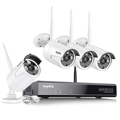SANNCE Kit Telecamera Videosorveglianza WiFi NVR 8 Canali 4 Wireless Kit di Sorveglianza 1080P Videocamera Senza Fili Esterno Visione Notturna Motion Detection P2P IP66 senza HDD