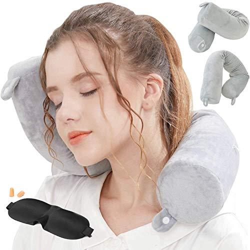 Cuscino da viaggio twist memory foam – a forma di U collo cuscino con tridimensionale pieno supporto cervicale collo cuscino da viaggio perfetto per aereo auto & home use