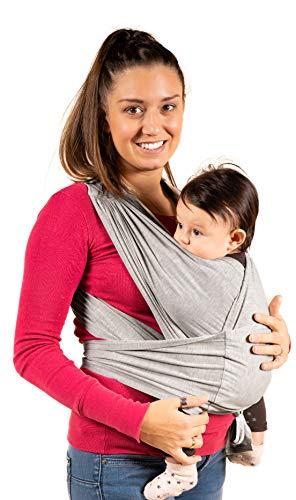 New 2020 - KALPAS - Fascia Porta Bambino Facile Da Indossare (Easy On), Taglia Unica Unisex | Marsupio Neonati Multiuso | Fascia Porta Bebe Elastica Baby Wrap Carrier Band - Grigio Chiaro -