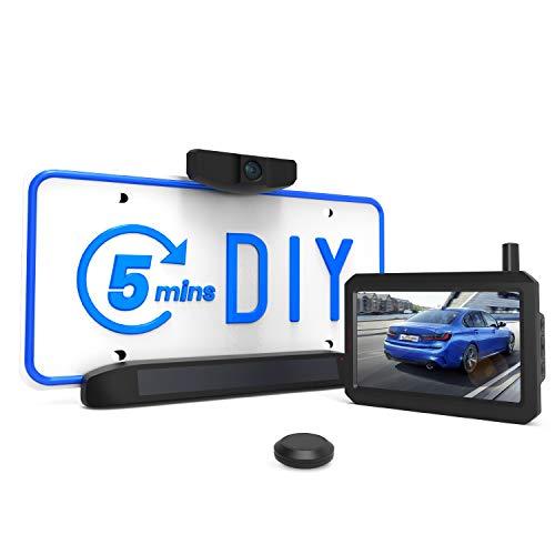 AUTO-VOX Set Telecamera Posteriore Wireless Solare, 5 Minuti DIY Installazione, con Monitor da 5 Pollici, IP68 Impermeabile, Visione Notturna, Retrocamera per veicoli piccole e medie (Solar 1)