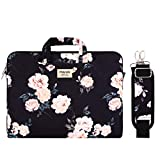 MOSISO Funda Protectora Compatible con 13-13.3 Pulgadas MacBook Air/MacBook Pro Retina/Surface Laptop/Book, Bolsa de Hombro Patrn Maletn Bandolera con Cinturn de Carro, Base Negro Peona