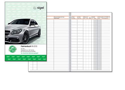 SIGEL FA513 Fahrtenbuch A5, 64 Seiten - für Vielfahrer max. 540 Fahrten - für Deutschland und Österreich, vom Finanzamt anerkannt