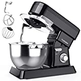 Stand Mixer, PopBabies Dough Mixer Tilt-Head Kitchen Electric Mixer, 7QT 800W 10-Speed Multifunctional Food Mixer with Dough Hook, Mixing Beater and Whisk for home cooks Black