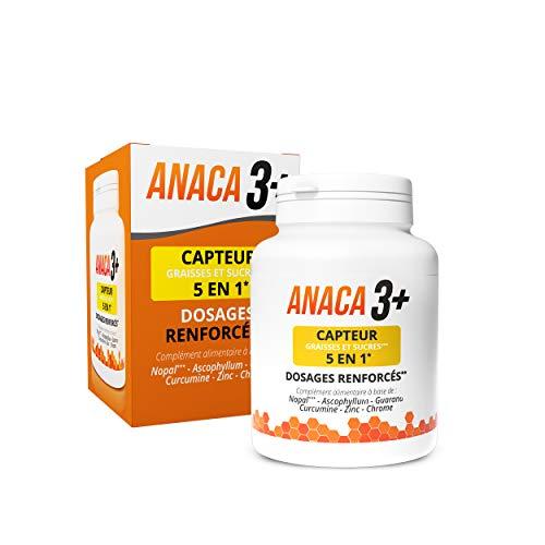 Anaca3+ – Capteur de Graisses et Sucres 5 En 1 – Dosages Renforcés* – Complement Alimentaire – Programme 30 jours – 120 gélules