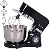6.5-QT Stand Mixer,660W 6-Speed Electric Tilt-Head Kitchen Mixer Cake Mixer with Stainless Steel Bowl,Dough Hook, Whisk & Beater,Dough Mixer for Baking (Black)