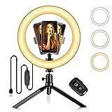 Ring Light 10' LED Lumière Anneau avec Trépied Ranikeer, Lampe Annulaire Réglable avec 3 Modes d'Eclairage, 10 Niveaux de Luminosité, Télécommande...