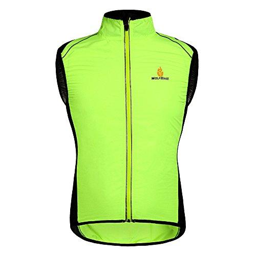 HYSENM Weste Radweste Windweste Jacke Tour de France ärmellos wasserdicht atmungsaktiv für Fahrrad MTB, Gelb XXL