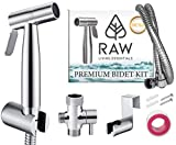 Hand Held Bidet Sprayer Kit by Raw Living Essentials - Portable Spray Attachment Set for Personal Hygiene, Baby Cloth Diaper Wash, Muslim Shower Shattaf, Toilet, Bath & Home Cleaner -Easy Self Install