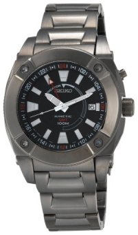 Seiko Men's SUN007 Kinetic GMT Black Ion Watch