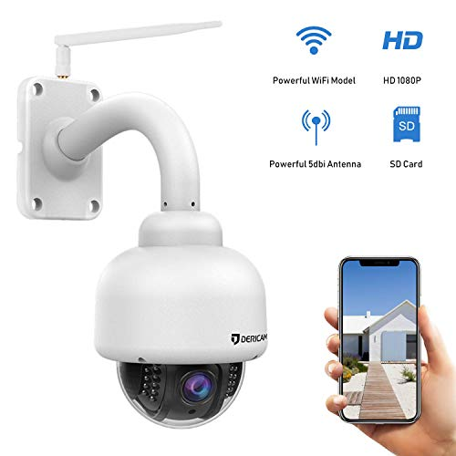 Dericam Telecamera di sicurezza wireless esterna, Telecamera PTZ esterna, Crystal Full HD 1080P, Zoom ottico 4X, Messa a fuoco automatica, Scheda di memoria preinstallata da 32GB, Bianco
