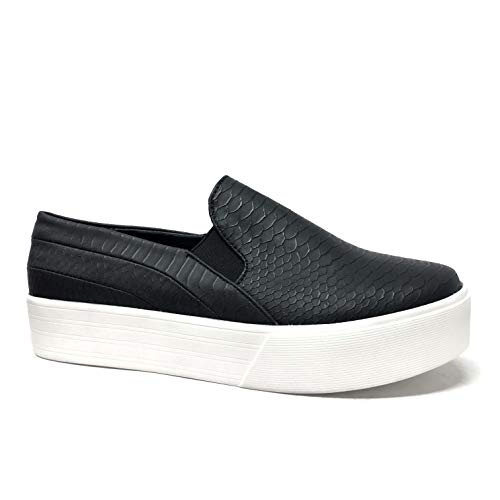 Angkorly - Zapatillas Moda Bailarinas Zapatilla - Sneakers Slip-on Elegante - Chic Casual/Informal Mujer Efecto Piel de Serpiente pitón elástico Plataforma 3 CM - Negro 6 CL1018 T 37