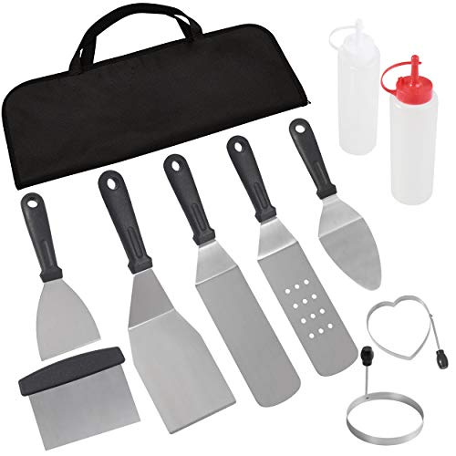 POLIGO Professional Spatula Set in Storage Bag - 10pcs Commercial Grade Stainless Steel Griddle Accessories Set for Flat Top Cooking Teppanyaki Grill - Metal Tool Set Gifts for Christmas Birthday Men