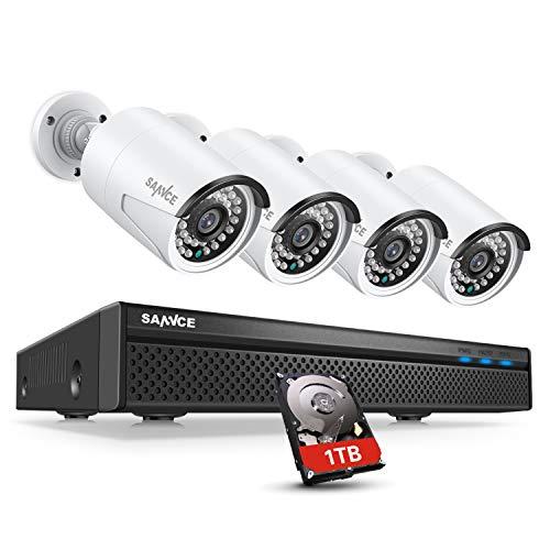 SANNCE POE DC 48V Kit de cámaras de vigilancia NVR de 5MP con disco duro de 1TB instalado H.264 + 8 canales + 4 cámara de vigilancia IP Cámaras de 2MP IP66 Alarma de infrarrojos a prueba de agua Visión nocturna -1TB HDD