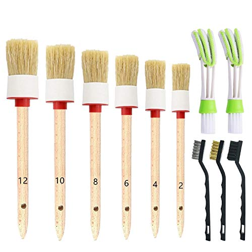 ONEST 11 Pieces Auto Detailing Brush Set for Cleaning Wheels, Interior, Exterior, Leather, Including 6 pcs Premium Detail Brush (White), 3 pcs Wire Brush and 2 pcs Automotive Air Conditioner Brush