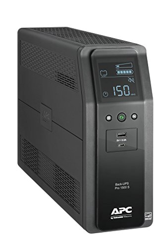 APC UPS BR1500MS, 1500VA Sine Wave UPS Battery Backup & Surge Protector, AVR, (2) USB Charger Ports, Back-UPS Pro Uninterruptible Power Supply