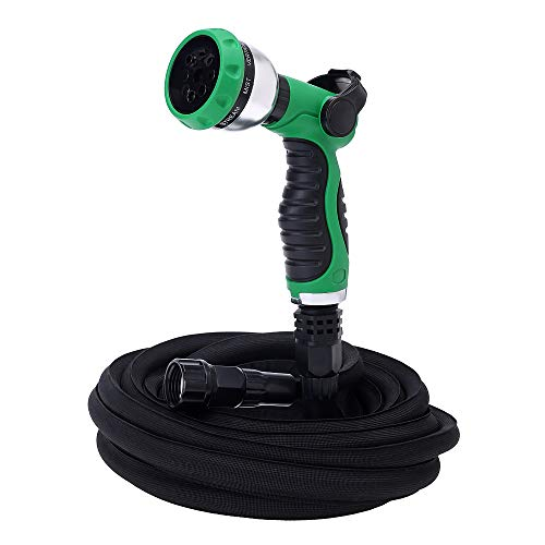 GREEN MOUNT 50ft Expandable Garden Hose, Lightweight Flexible Water Hose with 8 Function Spray Nozzle, Ultimate Non Kink Hose Easy to Storage