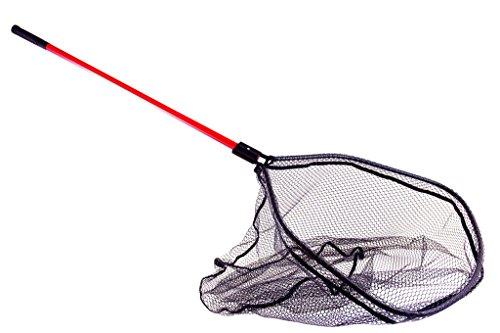 Kinetic - Guadino da barca grande, con rete gommata, lunghezza 150 cm, rete 60 x 65 x 70 cm, regolabile, manico rosso