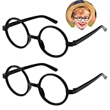 Kids Wizard Glasses Retro Round Glasses Frame No Lenses for Christmas Costume Party Cosplay Supplies for Age 4-12 2 Pack
