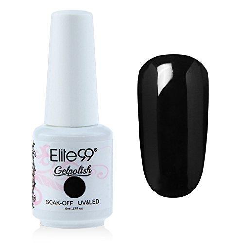 Elite99 Gel Polish Soak Off Gel Nail Polish UV LED Nail Art Black 8ml 1348