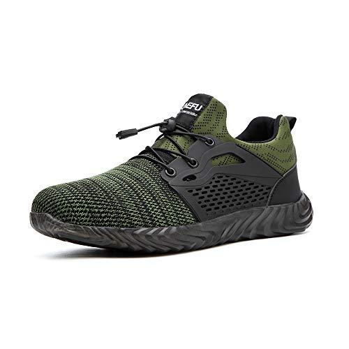 Zapatos de Seguridad Hombre Calzado de Industrial Mujer Puntera de Acero Zapatillas Deportivas de Trabajo Construcción Botas Tácticas Verde-3 EU38