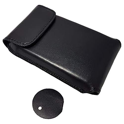 Genuine Leather Protective Carrying Case with Clip and Carrying Handle for Dexcom G6 Receiver Touchscreen New Black