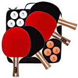 NuLandings Ping Pong Paddle Set - 4 Professional Table Tennis Rackets/Paddles - 8 Premium 3-Star ITTF Standard Balls Portable Cover Case Holder - Precise Racquet Control, Speed and Spin - Bundled Kit