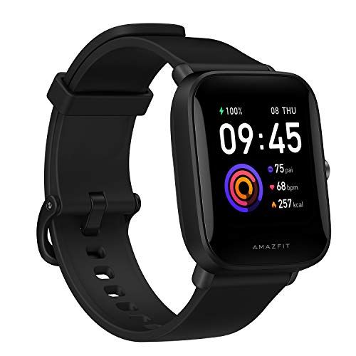 Amazfit Bip U Health Fitness Smartwatch with SpO2 Measurement, 9-Day Battery Life, Breathing, Heart Rate, Stress, Sleep Monitoring, Music Control, Water Resistant, 60 Sports Modes, HD Display, Black