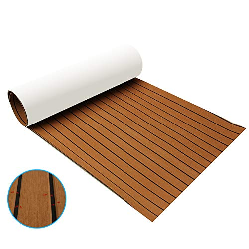 Zeeos EVA Foam Teak Decking Floor Sheet,Non-Skid-Self-Adhesive...