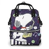 Bolsa de pañales- Músicos Snoopy Mommy Bolsa de bebé multifunción, gran capacidad, mochila de viaje