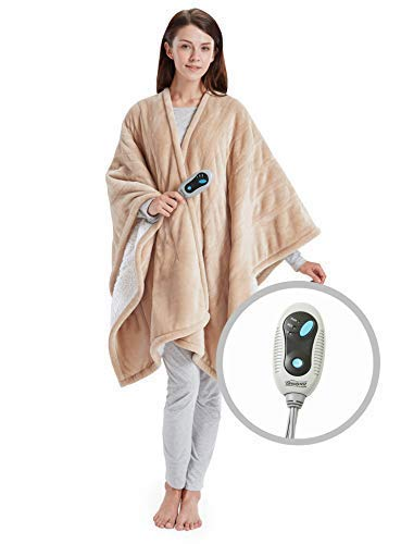 Beautyrest- Electric Heated Throw Blanket Ultra Soft Warm Plush Sherpa Blanket Wrap - 3 Fast Heat Setting with Auto Shut Off- Tan - 50x64 inches - 5 Yr Warranty